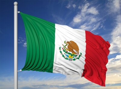 Image Waving flag of Mexico on flagpole, on blue sky background.