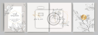 Image Wedding Invitation, floral invite thank you, rsvp modern card Design in golden rose leaf greenery  branches decorative Vector elegant rustic template