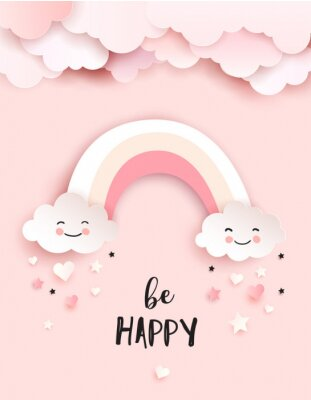 Image Welcome baby greetings card, nursery poster with cute clouds and rainbow, vector paper art