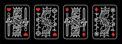 Image white red King and queen playing card vector illustration set of hearts and diamonds Royal card design collection on black background