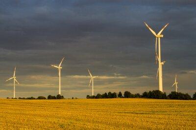 Image Wiatraki (turbiny WIATROWE) w świetle wschodzącego słońca