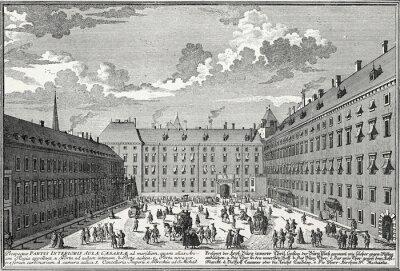 Image Wien, Innerer Burghof um 1725, Kupferstichvorlage