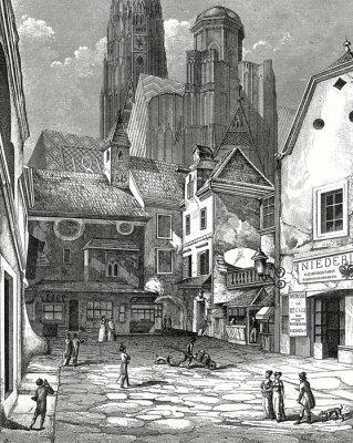 Image Wien, Zwettlhof mit Stephansdom um 1842, Kupferstichvorlage