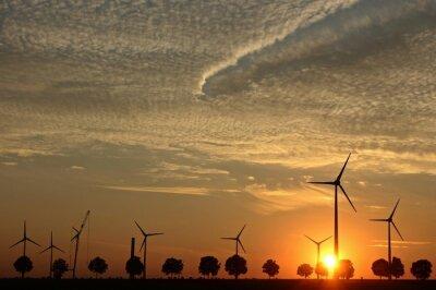 Image Windpark im Aufbau avec Sonnenuntergang mit Cirrocumuluswolken