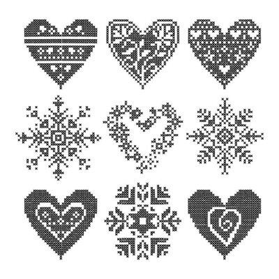 Image Winter Love seamless coeur noir