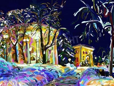 Image winter night cityscape digital painting