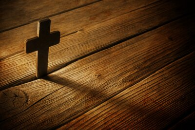 Image wooden cross on wood background