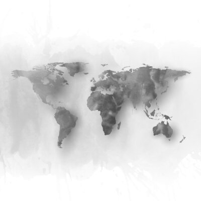 Image World map element, abstract hand drawn watercolor gray