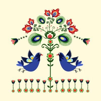 Image wzór Haftu z ptakami