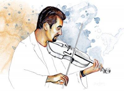 Image Рисунок-иллюстрация ,, Музыкант играет на скрипке ,,.