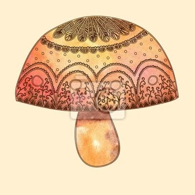 акварельный гриб