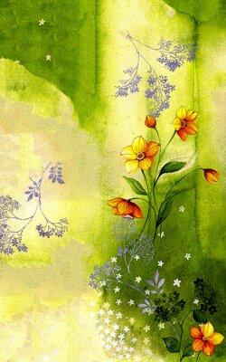 Image 수채화배경위에그려진수선화줄기 와싸리꽃