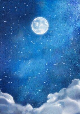 Image Aquarelle Nuages de nuit