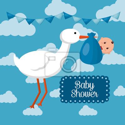 Image Baby Shower Carte Bleu Nuages Fond Cigogne Avec Garçon Bébé