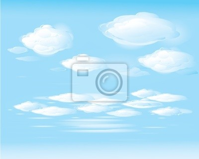 Vecteur de ciel bleu et nuages blancs
