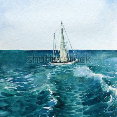 Image yacht. navire. mer. aquarelle. cette image peut être utilisée comme arrière-plan, objet indépendant, comme décoration, dans les cartes postales, le papier peint, l'impression