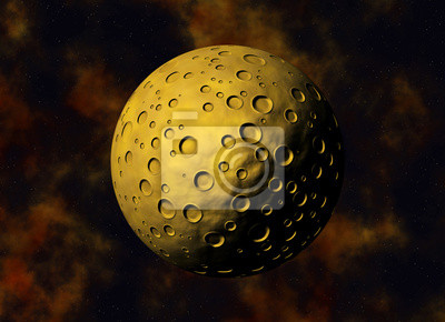 yellow big meteorite with craters on a space backgrounds