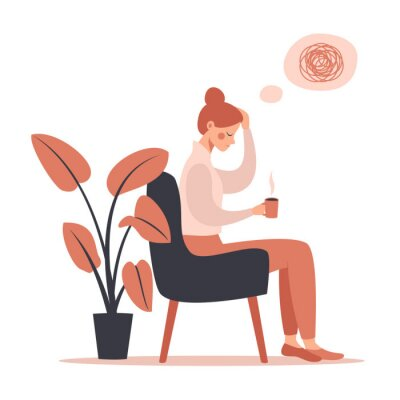 Image Young woman with headache drinking hot coffee while sitting in chair. Vector illustration isolated from white background