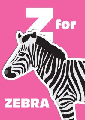Image Z pour le zèbre, un animal alphabet pour les enfants