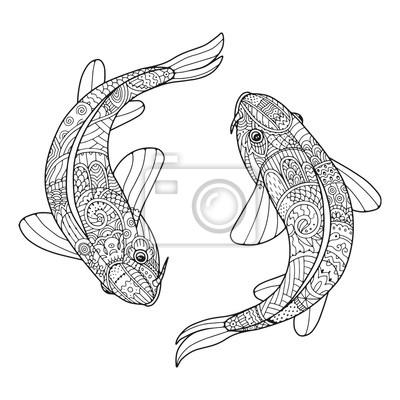 Carpe Koi Dessin image: zentangle couple stylisé de poissons. deux carpes koi. dessin