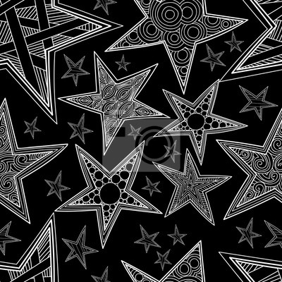 Zentangle Etoiles Seamless Pattern Hand Drawn Fond Noir Et Blanc