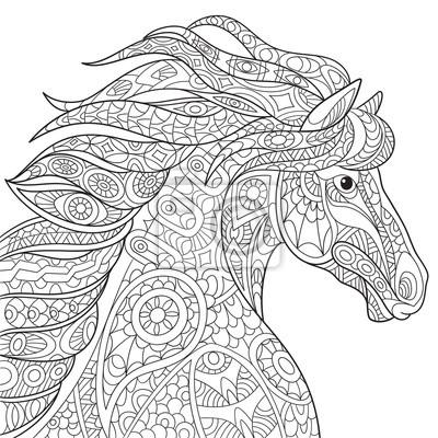 Coloriage Cheval Zen.Image Zentangle Stylise Cheval De Dessin Anime Mustang Isole Sur