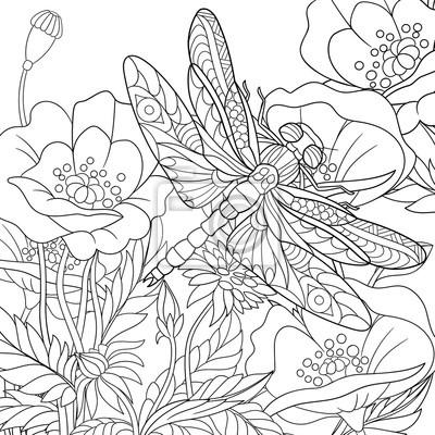 Coloriage Fleur Insecte.Zentangle Stylise Dessin Anime Libellule Insecte Voler