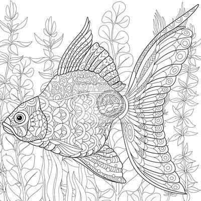 Zentangle Stylisé Dessin Animé Poisson Rouge Natation Algue