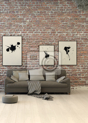 salon rustique zone avec un mur de brique de parement papier peint papiers peints appartement. Black Bedroom Furniture Sets. Home Design Ideas