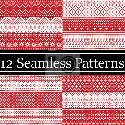 12 modèles de vecteur de style nordique inspirés par Noël scandinave, modèle sans couture hiver festif au point de croix avec coeur, flocon de neige, arbre de Noël, neige, ornements décoratifs rouge,