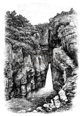 Papiers peints 19ème siècle de chute d'eau près de Lydford, Devon, Royaume-Uni