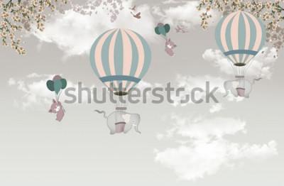 Papiers peints 2 éléphant avec balon sur ciel fond d'écran 3D