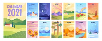 Papiers peints 2020 Calendar with bunch of minimalist style landscapes of four seasons. Set of vector illustrations