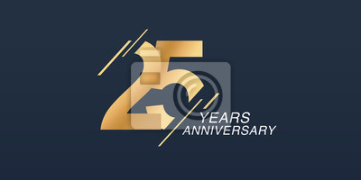 Papiers peints 25 years anniversary vector icon, logo. Graphic design element with golden number