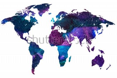 Papiers peints 2ème illustration principale de la carte du monde. Image aquarelle dégradée de couleur de la planète terre isolée. Continents colorés. Fond blanc