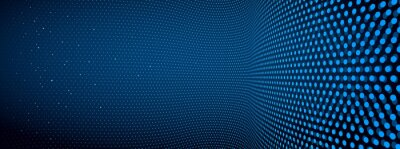 Papiers peints 3D abstract dark blue background with dots pattern vector design, technology theme, dimensional dotted flow in perspective, big data, nanotechnology.