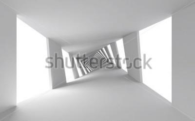 Papiers peints 3d abstrait avec couloir en spirale torsadée blanc