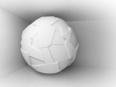 Papiers peints 3d abstrait blanc avec grande sphère volante