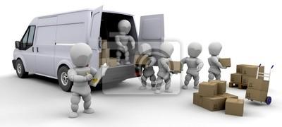 3D camion de déménagement et les hommes