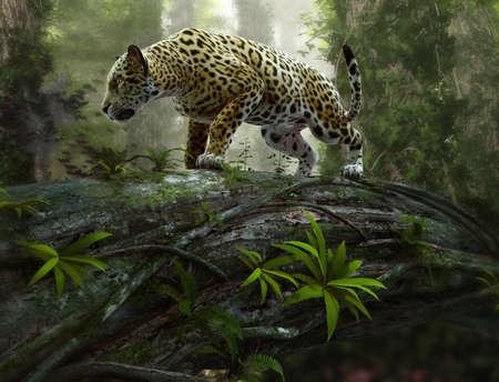 Papiers peints 3d CG graphics of a jaguar on the prowl