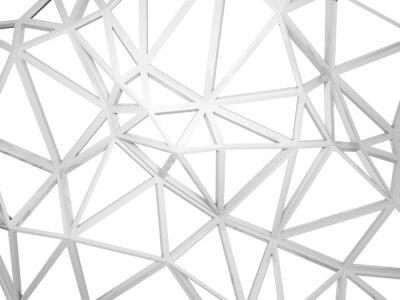 Papiers peints 3d construction filaire avec la forme chaotique isolé sur blanc