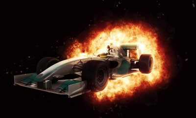Papiers peints 3D, course, voiture, brûlé, explosion, effet