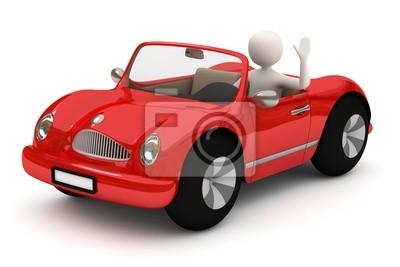 3d homme qui va avec la voiture rouge
