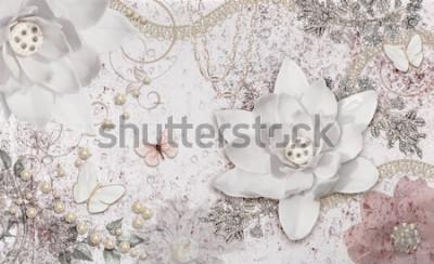 Papiers peints 3d illustration of flower background-3d wallpaper