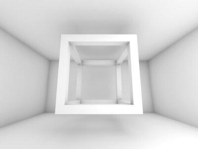 Papiers peints 3d illustration, voler vide faisceau cube