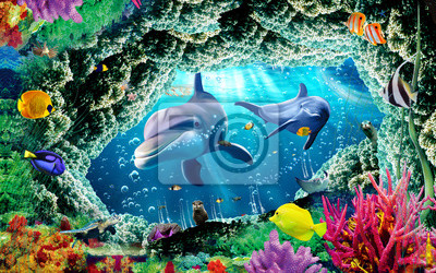 Papiers peints 3d illustration  wallpaper under sea dolphin, Fish, Tortoise, Coral reefsand water with broken wall bricks background. will visually expand the space in a small room, bring more light and become an ac
