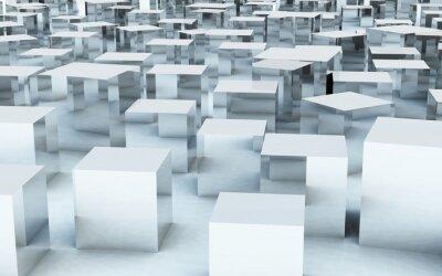 Papiers peints 3D, masse, cube, acier, métal, reflet