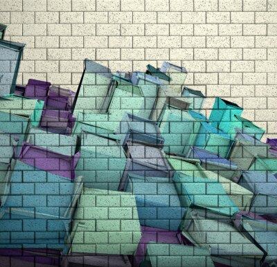 Papiers peints 3d mur de briques de mosaïque avec motif fragmenté de cube