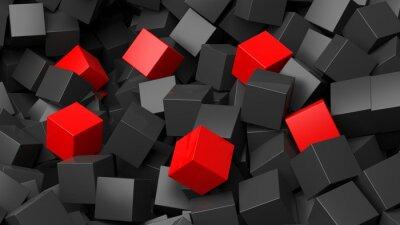 Papiers peints 3D, noir, rouges, cubes, pile, résumé, fond