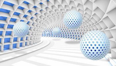 Papiers peints 3d picture balls fly away into the tunnel perspective
